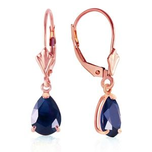 14K. SOLID GOLD LEVERBACK EARRING WITH SAPPHIRES